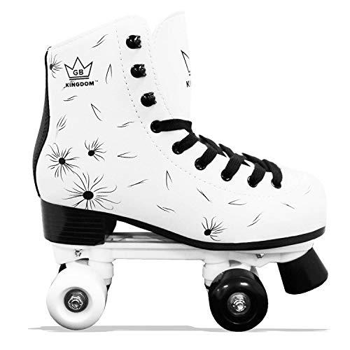 Kingdom GB Venus v2 Quad Roller Skates Girls WhiteBlack 1 UK