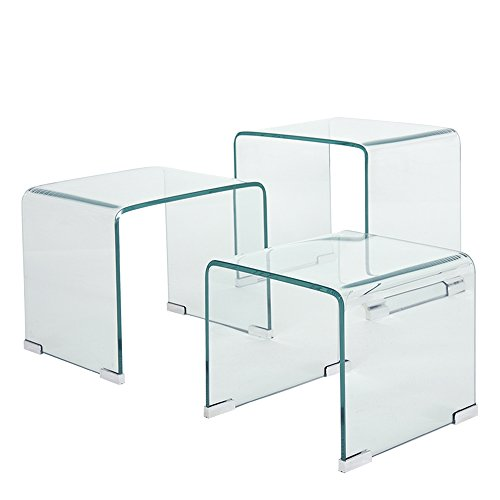 PananaHome Nest of 3 Glass Tables Nesting Side End Table Living Room (Clear)