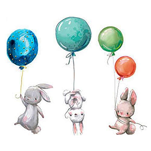 RUIYELE Pegatinas de pared de conejo de Pascua creativas para habitación de niños, pegatinas de pared para habitación de guardería, calcomanías de pared removibles con globos de animales