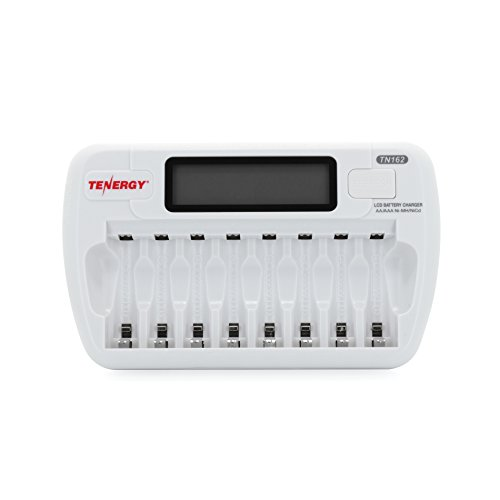 Tenergy TN162 8-Bay Smart LCD Battery Charger for Rechargeable AA/AAA NiMH/NiCd Batteries