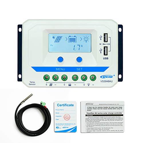epever 30A PWM Solar Charge Controller 12V/24V/36V/48V Auto mit USB-Ausgang LCD Display für Solarpanel Akku Batterie Ladekabel System (30A, vs3048au)