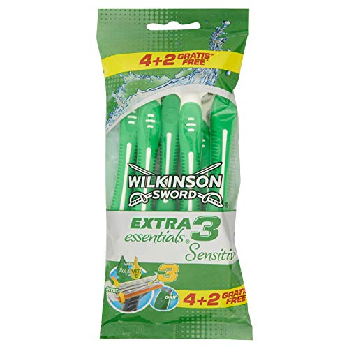 Wilkinson Sword - Rasoio Usa e Getta Extra 3 Essentials Sensitive- Rasoio a 3 Lame per Uomo - Confezione da 4 Rasoi + 2 in Omaggio