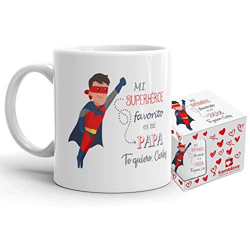 Kembilove Taza de Café Padre Personalizada – Taza de Desayuno Mi Superhéroe Favorito Personalizado – Tazas de Café y Té para Papas – Taza de Cerámica Impresa – Regalo Original Taza de 350 ml