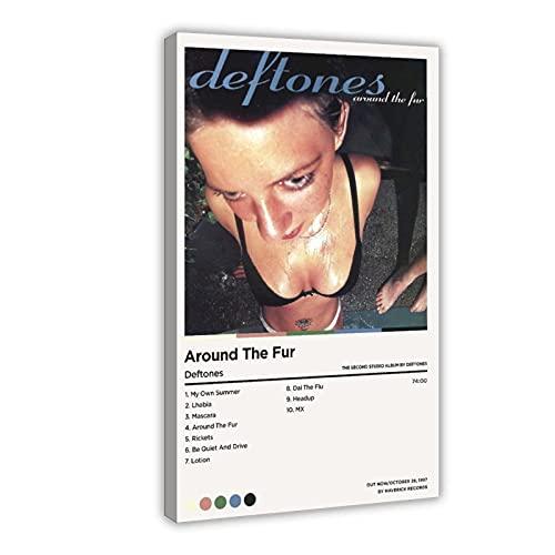 Affiche sur toile avec inscription « Deftones Around The Fur » pour décoration de chambre à coucher, de sport, de bureau, de chambre, de bureau, de chambre, de cadeau, 50 x 75 cm