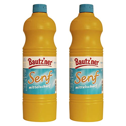 BAUTZ'NER Senf mittelscharf – 2er Set (2x1000 ml) Flasche Mittelscharfer Senf– Original Bautz'ner Rezeptur seit 1955 – Ohne Zusatz von Konservierungsstoffen und Geschmacksverstärkern – Senf