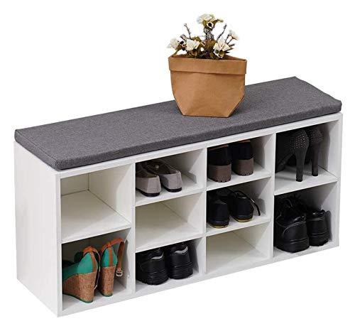 lcy Banco de Zapatos Blanco Gabinete de Almacenamiento de Zapatos de Madera con Asiento de cojín Organizador de Zapatos Rack Armario de Pasillo con Banco de Asiento Acolchado 104 * 30 * 48cm