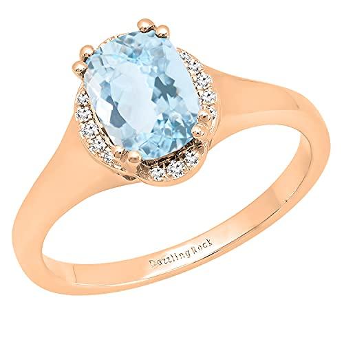 Dazzlingrock Collection Cojín de 8 x 6 mm, aguamarina y diamante blanco redondo para mujer, clásico, hermosa elección para anillo de compromiso, oro rosa de 18 quilates, talla 7,5