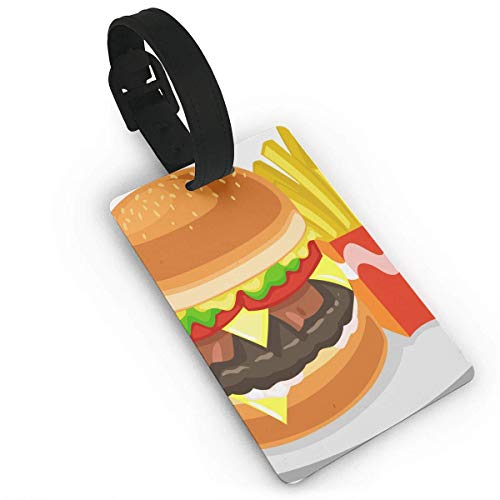 Luggage Tag Burger and Fries Turtle Pixar Travel ID Label Leather for Baggage Suitcase