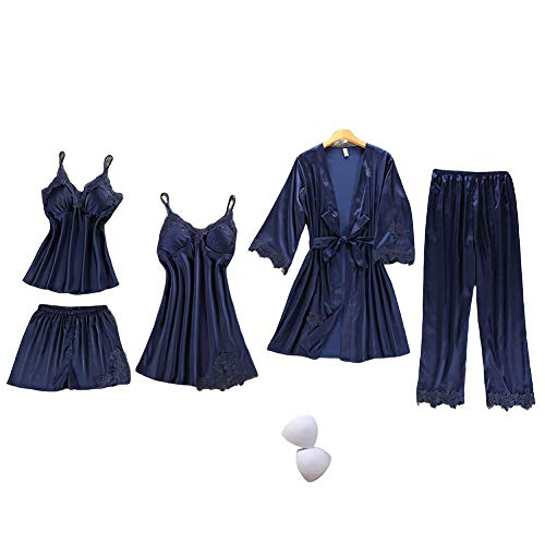 SAPJON Women's Silk Satin Pajama Set Cami Top Nightgown Lace Night Robe Sexy Sleepwear Robe Sets Nightdress with Chest Pads