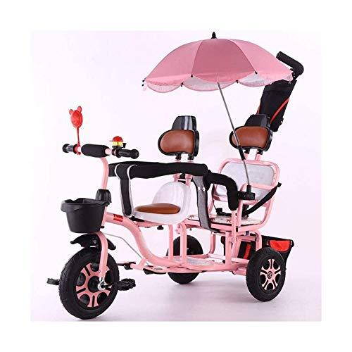 ZWJ-Kinder Dreirad Twin Tricycle, Zweisitzer Outdoor-Trike Push-Pedal-Auto, High Carbon Stahl Kinderwagen Mit...