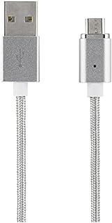 STREETZ 2,1 A 1 m microUSB/USB 2.0 magnetisk USB synkronisering/laddningskabel – silver