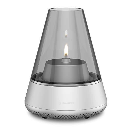 Nordic Light Pro Silver Lamp & Bluetooth luidspreker in één voor natuurlijk licht en muziek streaming - theelichthouder/olielamp om bij te vullen - tot 10 uur muziek