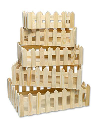 takestop® houten mand 5 stuks verschillende maten RF_64893 MATRIOSKA rechthoekig brievenbus opslagrek decoratie huis keuken