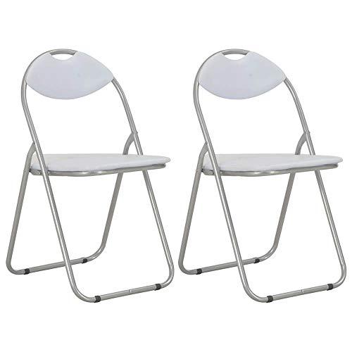 Klappstühle 2 Stk. Kunstleder Klappbarer Stuhl in Weiß Klappstuhl Gepolstert Metall-Klappstuhl Stühle Catering Stuhl, Platzsparende Aufbewahrung, Catering Möbel, Zusammenklappbar, 2er-Set