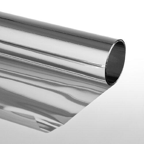 Folien-Gigant 3009010101 Sonnenschutzfolie mit Spiegeleffekt Kratzfest Selbstklebend Fensterfolie Tönungsfolie 75 x 900cm Silber