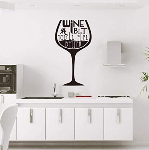 Wandaufkleber Applikation Wandbild Mädchen Jungen Vinyl für Zuhause Art Deco Weinglas 60x120cm