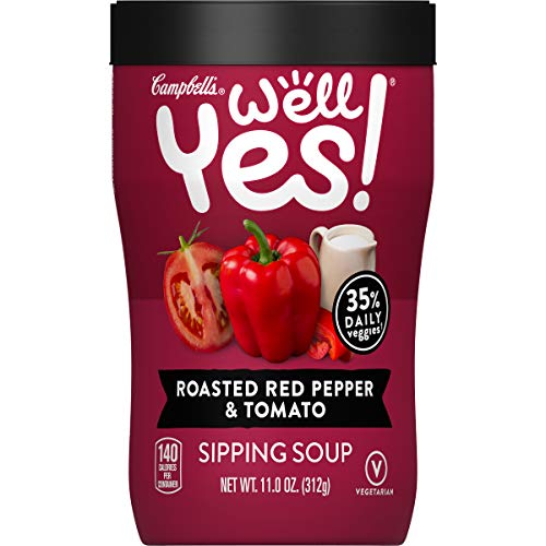 Campbell's Well Yes! Sipping Soup, Vegetable Soup On The Go, Roasted Red Pepper & Tomato, 11 Oz Cup (Pack of 8)