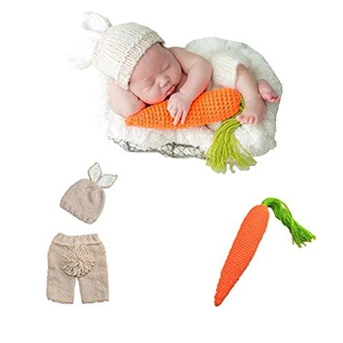 puseky 3pcs Newborn Baby Boy Girls Cap + Shorts + Zanahoria Foto de juguete Fotografía Prop Conjuntos Conjunto (Color : Beige, Size : 0-6M)