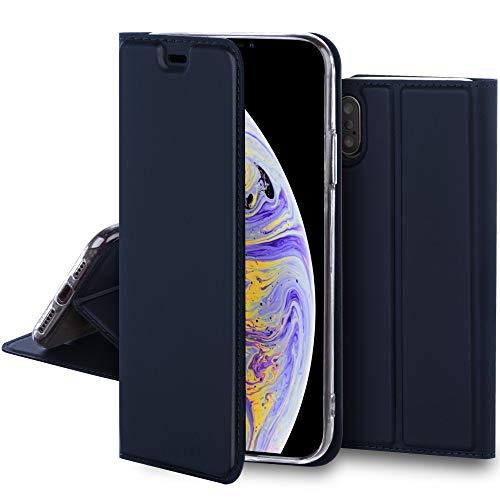 Moozy Funda con Tapa para iPhone XS MAX, Azul Oscuro – Tacto Sedoso Flip Cover Magnético Clásico con Soporte y Tarjetero