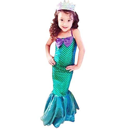 OBEEII Vestido Sirena Niña Disfraz de Fiesta Infantil para Fiesta Boda Princesa Cosplay sin Mangas S