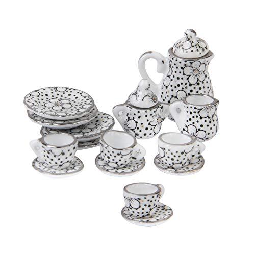 Romote 1/12 Puppenhaus Miniatur Essgeschirr Porzellanteesatz Pot Cup Teller Satz von 15 Gänseblümchen Muster Puppenhaus Zubehör