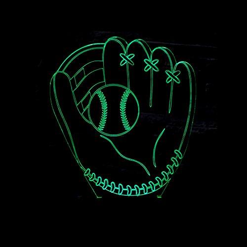 Aoyuhf 3D Night Light 3D Baseball Handschuhe Catchers Pitcher Handschuhe Illusion Lampen Linke Hand Softball Bunte Led 3D Nachtlichter Wohnkultur