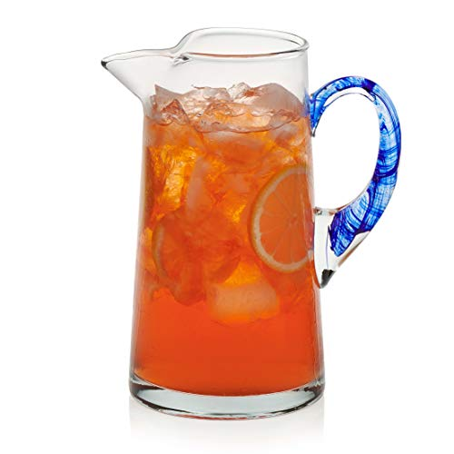 Libbey Cabos Blue-Handled Glass Pitcher, 90-ounce