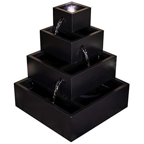 """Köhko® Wasserspiel """"Pagoda"""" mit LED-Beleuchtung in schwarz leckiert 22010K Springbrunnen Zimmerbrunnen"""