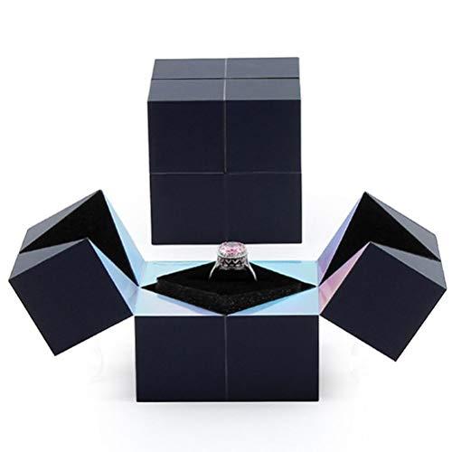 Kenyaw Caja de Anillo giratoria de Cubo, Caja de Anillo de Regalo Plegable Creativa, Caja de Colgante de Collar de Pulsera de Anillo de propuesta, Caja de joyería de Boda Sorpresa de Matrimonio