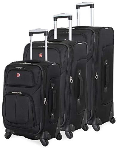 SWISSGEAR 6283 Amazon Exclusive Premium 3pc Spinner Luggage Set with Dopp Kit Bundle Black