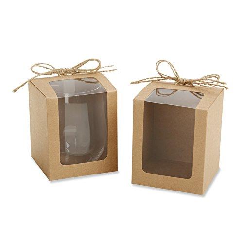 Kate Aspen Caixas de presente estilo Kraft para taças de vinho sem haste, lembrancinhas de casamento/festa, 255 g, conjunto de 12