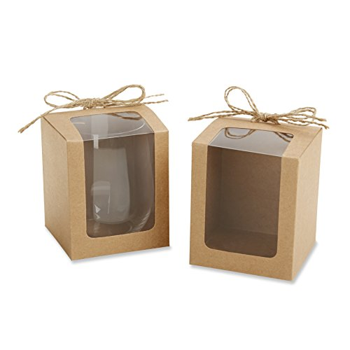 Kate Aspen Kraft Style Display Gift Boxes for Stemless Wine Glass, Wedding/Party Favors, 9-Ounce, Set of 12