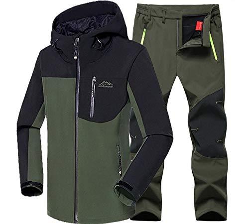 HANGON - Juego de chaquetas para hombre (impermeables, para invierno, senderismo, pesca, camping, escalada, senderismo, al aire libre, chaquetas, pantalones de gran tamaño), color Traje Verde, tamaño XXXL