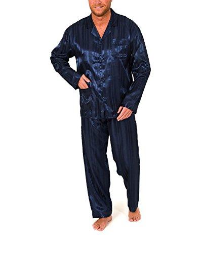 Normann Satin Pyjama lang, durchgeknöpft, Schattenstreifen, 251 101 94 010, Farbe:Marine, Größe2:52