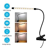 Clip on Light Reading Lights, Eye-Care Dimmable Desk Clamp Lamp with 3 Color Modes & 9 Dimming Levels, 360°Flexible Gooseneck Bed Night Light Book Light