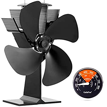 GALAFIRE [ 2 Years Eco Heat Powered Wood Stove Fan for Gas/Pellet/Log/Wood Buring Stoves Fireplace Fan 4 Blade Black + Stove Thermometer