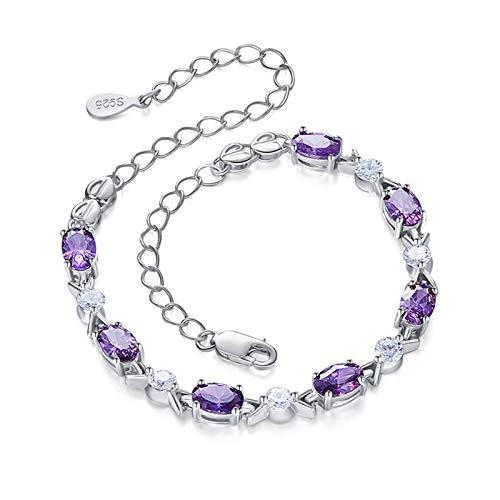 Yoskog Pulseira feminina de cristal com pedra do mês de nascimento S925, joia de prata esterlina com pingente de diamante para irmã e menina Roxa