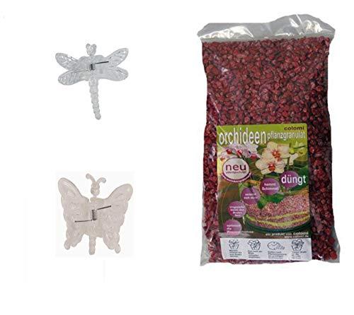 Set aus 2 Clips+1 l Orchideengranulat fein Colomi 4-8 mm Körnung Rot