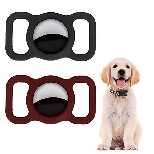 LADES Funda protectora de silicona para mascotas, para localizar el cuello, para perros y gatos, para air_etiquetas, ajustable, antipérdida, para collar de mascotas, 2 unidades