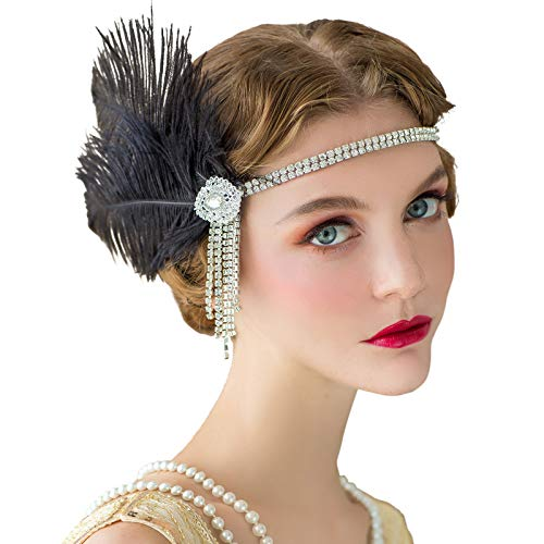 SWEETV Flapper Bandeaux Femmes Années 1920 Headpiece Great Gatsby Inspiré Plume Bandeau Cocktail Party Accessoires De Cheveux pour les Femmes, Noir