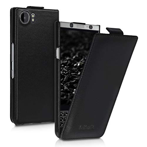 kalibri Flip Case Compatible with BlackBerry KEYone (Key1) - Ultra Slim Leather Protective Phone Cover - Black
