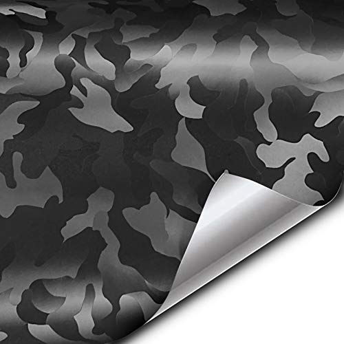 VViViD+ 2020 Edition Black Stealth Medium-Sized Pattern Camouflage Vinyl Wrap Roll (1.5ft x 5ft)
