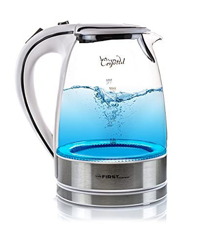 TZS First Austria Glas Wasserkocher, 2200 Watt 1,7 Liter blaue Led Beleuchtung 360 Grad, kabellos, Kalkfilter, Bpa Frei, weiß