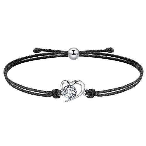 MICORY Herz Armband Damen Mädchen 925 Sterling Silber 24cm verstellbare geflochtene Seil Armband Handmade