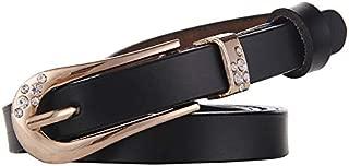 SGJFZD New Fashionable Leather Belt Ladies Belt Retro Pin Buckle Wild Decorative Dress Thin Belt (Color : Black, Size : 120cm)