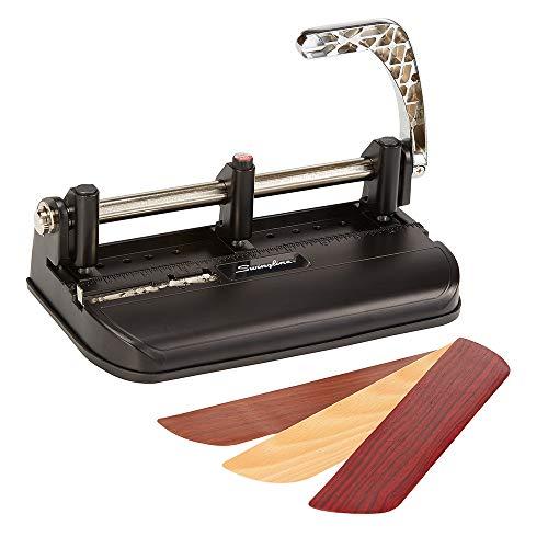 Swingline 2-7 Hole Punch, Adjustable, Heavy Duty Hole Puncher, 40 Sheet Punch Capacity, Chrome/Black/Woodgrain (74400)