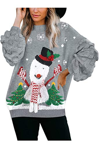 Sovoyontee Women's Oversized Pullover Cute Ugly Christmas Sweater, Gray, Small