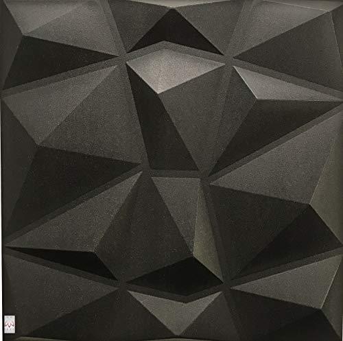 5qm / 3D Wandpaneele Wandverkleidung Deckenpaneele Platten Paneele DIAMANT Schwarz POLYSTYROL MATERIAL (5qm = 20Stück)