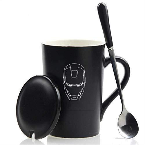 FHFF Kaffeetasse mit Deckel, Löffel, 420 ml, The Avengers Keramik-Kaffeebecher Iron Man Captain Marvel Tassen und Becher für Geschenk 1