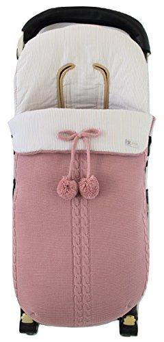 Saco silla de paseo universal de invierno en punto de lana y algodón de rayas. Modelo sophie. Rosa/camel